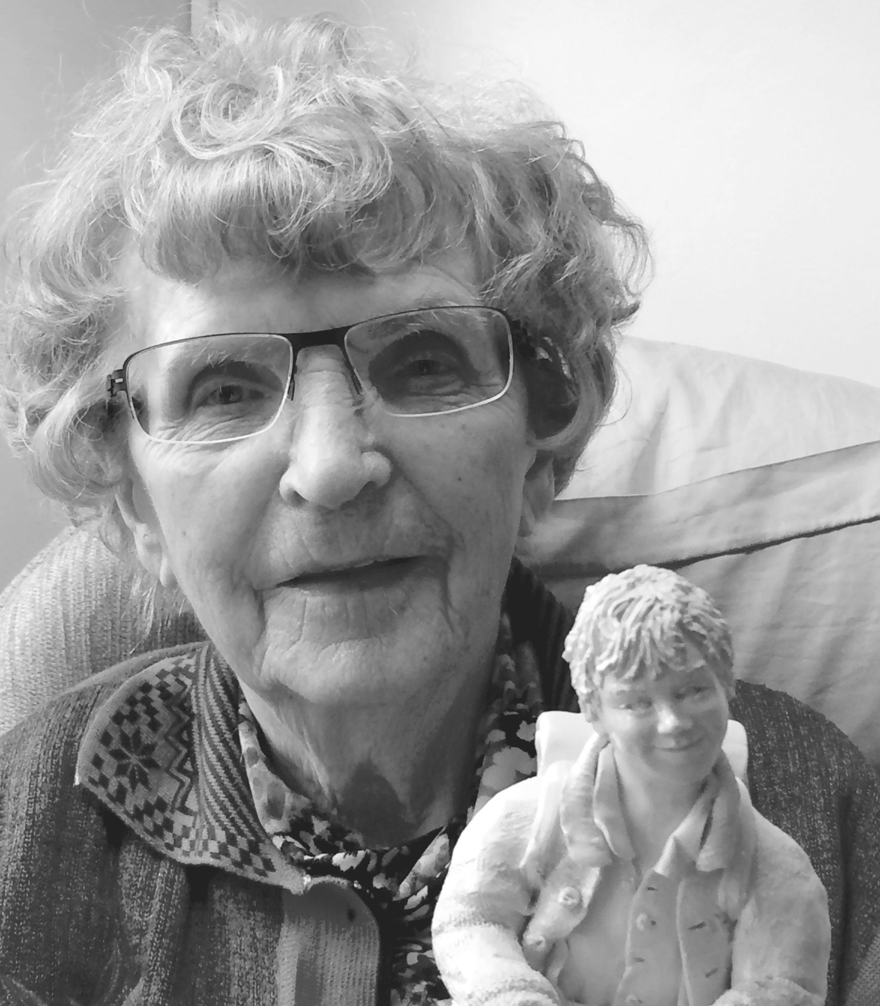 Elfriede Meindl at 90 with figurine